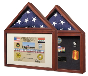 Small Flag and Certificate or Photo Memorabilia Display Case
