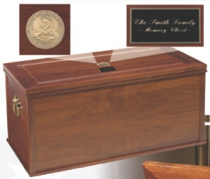 Heirloom Solid Walnut Storage Chest Footlocker with Brass Military Service Medallion and Free Engraved Plate