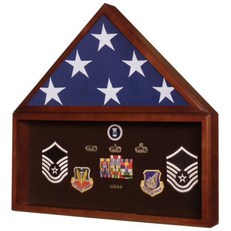 American Flag and Memorabilia Display Case