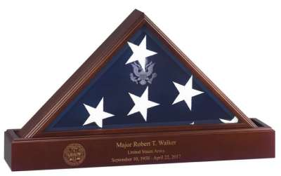 Flag Case Laser Engraving Inscription Personal Custom for American flag case United States veteran