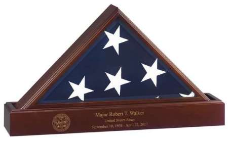 Flag Display Case with Laser Engraved Base. Free shipping, free laser engraving 2018. Made in America. Perfect gift for Army, Navy, Air Force, Marines, Marine Corps, Coast Guard, law enforcement, fire American Legion VFW