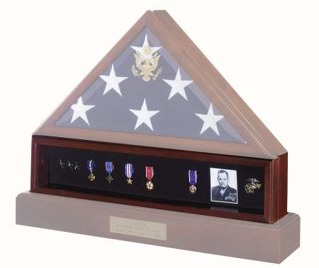 Shadowbox Medal Ribbon Display Case for American flag cases free shipping