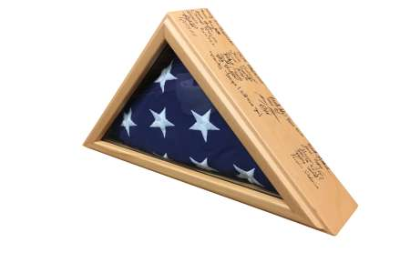 Group Signatures Flag Case for 3x5 flag. Solid Beech with clear coat and sharpie for smudge free signatures.