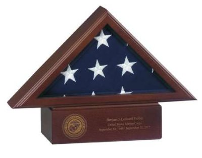 Small Laser Engraved Pedestal Base for American flag cases service medallion free shipping