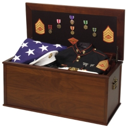 Heirloom Walnut Military Veteran Storage Chest Footlocker Army Navy Air Force Marines Marine Corps Coast Guard