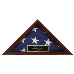 Small American Flag Display Case for presentation flag 3x5 made in America solid wood