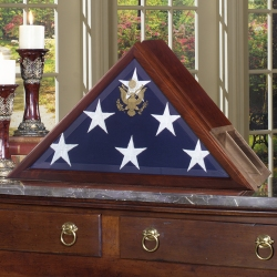 Military Veteran Cremation Urn Presidential Flag Display Case Set with Hidden Urn Pedestal Base made in America Army Navy Air Force Marines Coast Guard law enforcement police firefighter