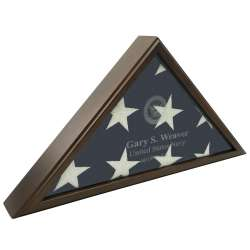 Sergeant Laser Engraved Flag Display Case American made Military Veterans Law Enforcement Cherry Oak Gunmetal Gray American made