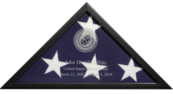 Sergeant Laser Engraved Flag Display Case American made Military Veterans Law Enforcement medical fire first responders Cherry Oak Gunmetal Gray American made 2021