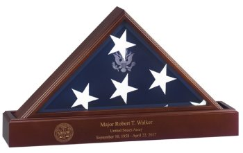 Flag Display Case with Laser Engraved Base made in America Army Navy Air Force Marines Coast Guard law enforcement police firefighter medical first responders