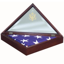 Military Veteran Presidential American Flag Display Case Set made in America embossed glass front opening solid wood walnut cherry