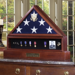Military Veteran Cremation Urn Presidential Complete Combination Set Flag Display Case Set with Medal Display and Pedestal Urn made in America Army Navy Air Force Marines Coast Guard law enforcement police firefighter