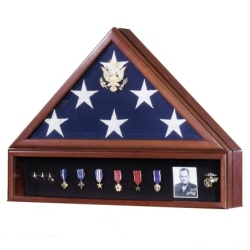 Military Veteran VP Flag Display Case Set with Shadowbox Medal Display made in America.