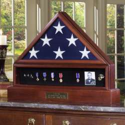 Veteran Cremation Urn Flag Display Case Complete Combination Set with Medal Display and Hidden Urn Base Pedestal made in America. Glass front back opening