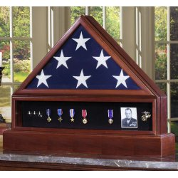 Veteran Flag Case Complete Set with Medal Display and Hidden Urn Base Pedestal made in America. Glass front back opening