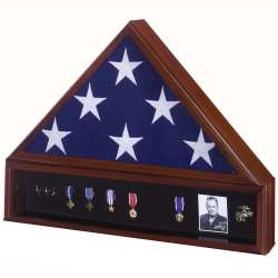 Veteran Flag Display Case Set with Shadowbox Medal Display made in America.