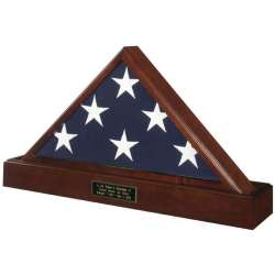 Veteran Cremation Urn Flag Display Case Set with Hidden Urn Pedestal Base made in America Army Navy Air Force Marines Coast Guard law enforcement police firefighter