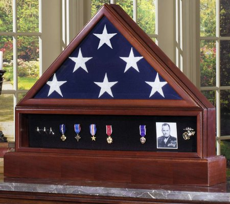 Veteran  Wood American Flag Display Case Complete Combination Set with Medal Shadowbox Display and Engraved Pedestal Cremation Urn. Free shipping, free personalized engraved plate. Made in America. Perfect gift for Veterans Day, Memorial Day, birthday or Christmas. Army, Navy, Air Force, Marines, Marine Corps, Coast Guard, law enforcement, fire