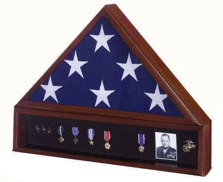 Veteran  Wood Flag Display Case Set with Shadowbox Medal Display. Free shipping, free personalized engraved plate. Made in America. Perfect gift for Veterans Day, Memorial Day, birthday or Christmas. Army, Navy, Air Force, Marines, Marine Corps, Coast Guard, law enforcement, fire