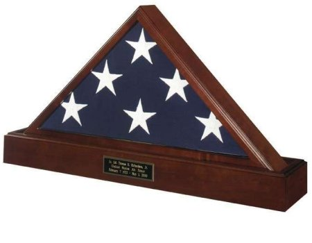 Veteran Wood American Flag Display Case Combination Set with Engraved Pedestal Base Stand with Hidden Cremation Urn for America's heroes and veterans. Free shipping, free personalized engraved plate. Made in America. Perfect for Veterans Day, Memorial Day, birthday or Christmas. Army, Navy, Air Force, Marines, Marine Corps, Coast Guard, law enforcement, fire