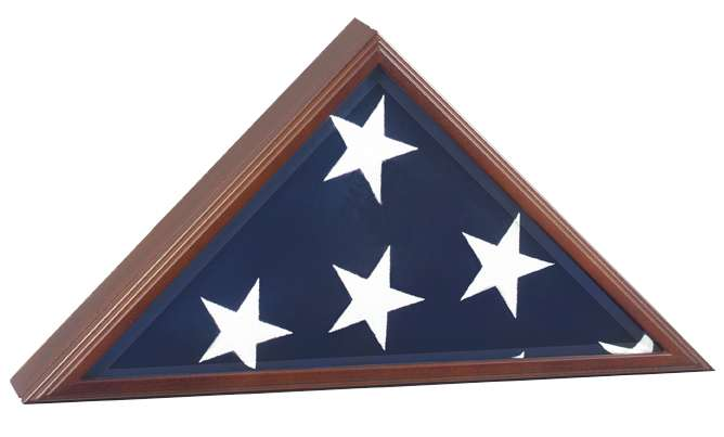 VP Flag Display Case with embossed Great Seal on elegant beveled glass back opening free shipping