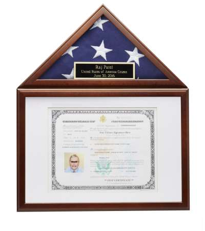 Small American Flag Certificate Photo Display Case Frame Free ...