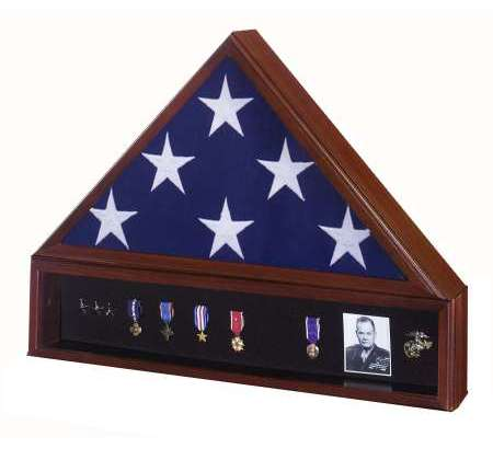 Personalized American Made Flag Display Case Box Frame Shadowbox Urn